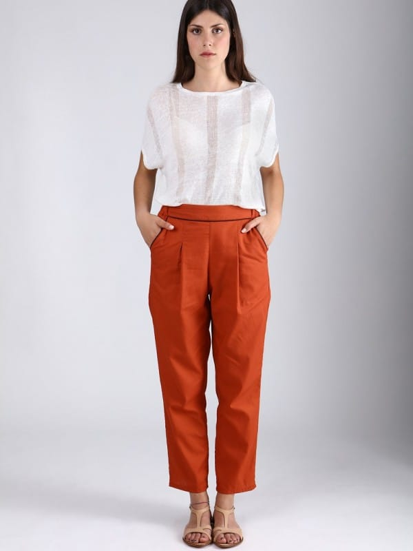 Long cotton organic trousers