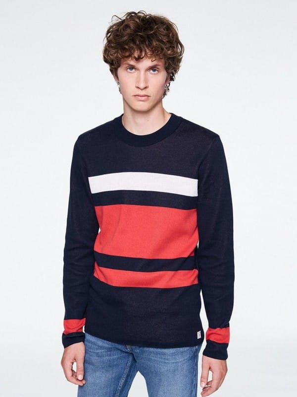 Blue printed pullover with white and red organic cotton stripes-Arndt