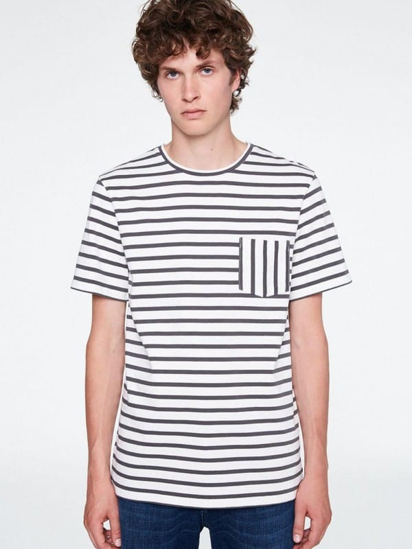 Short sleeve t-shirt with green and white organic cotton stripes-Jonsi
