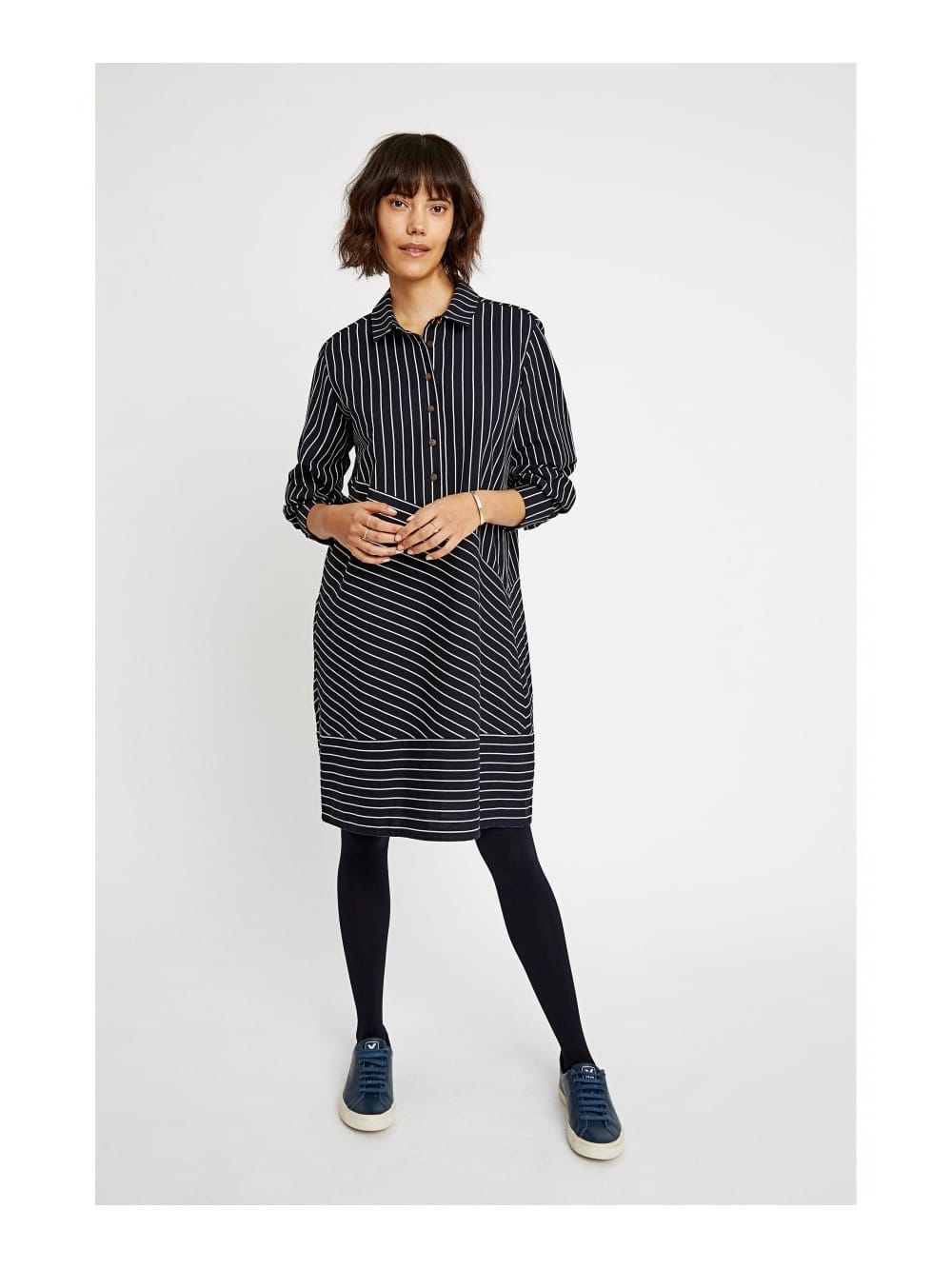Blue organic cotton dress-Adrienne