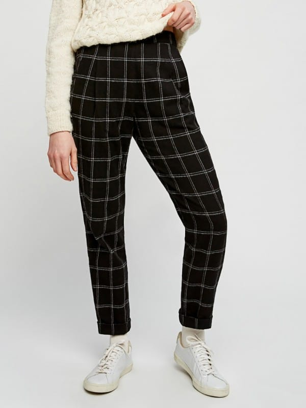 Dark gray plaid pants-Reiko