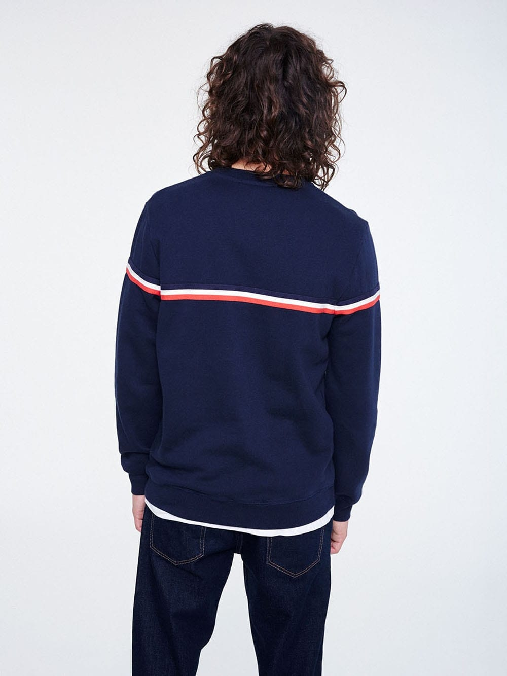 Blue jersey with red and white stripes made of organic cotton-Sono