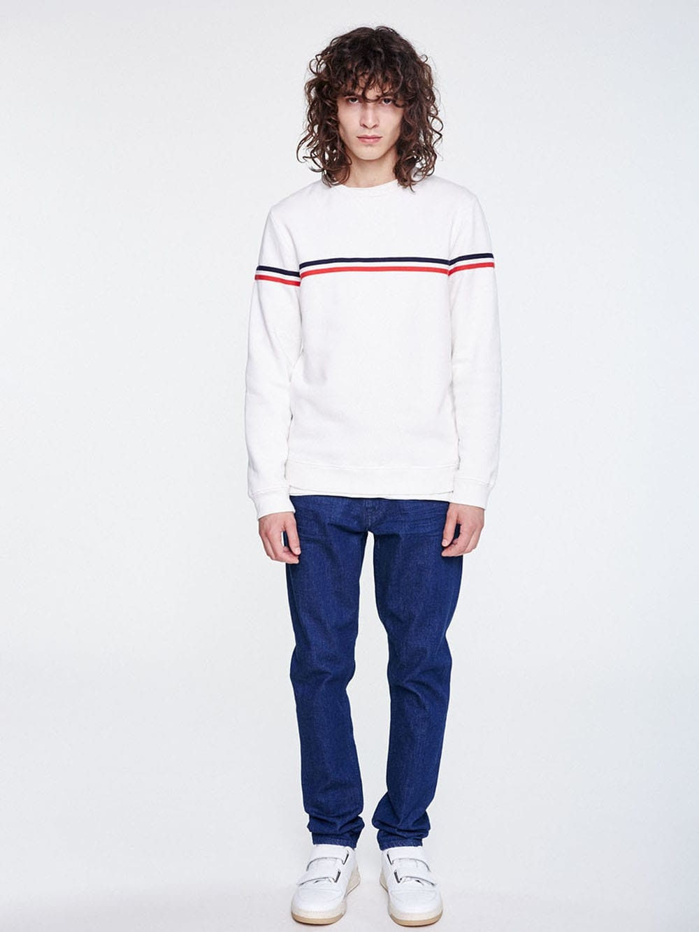 White sweater with red and white stripes made of organic cotton stripes-Sono