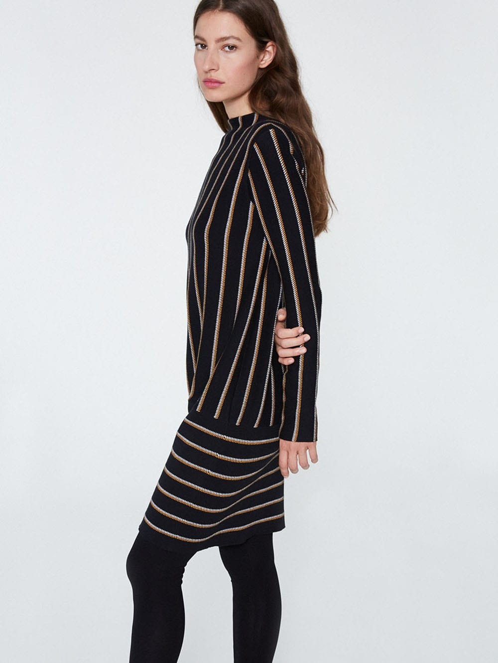 Black dress with yellow stripes made with organic cotton-Keoni
