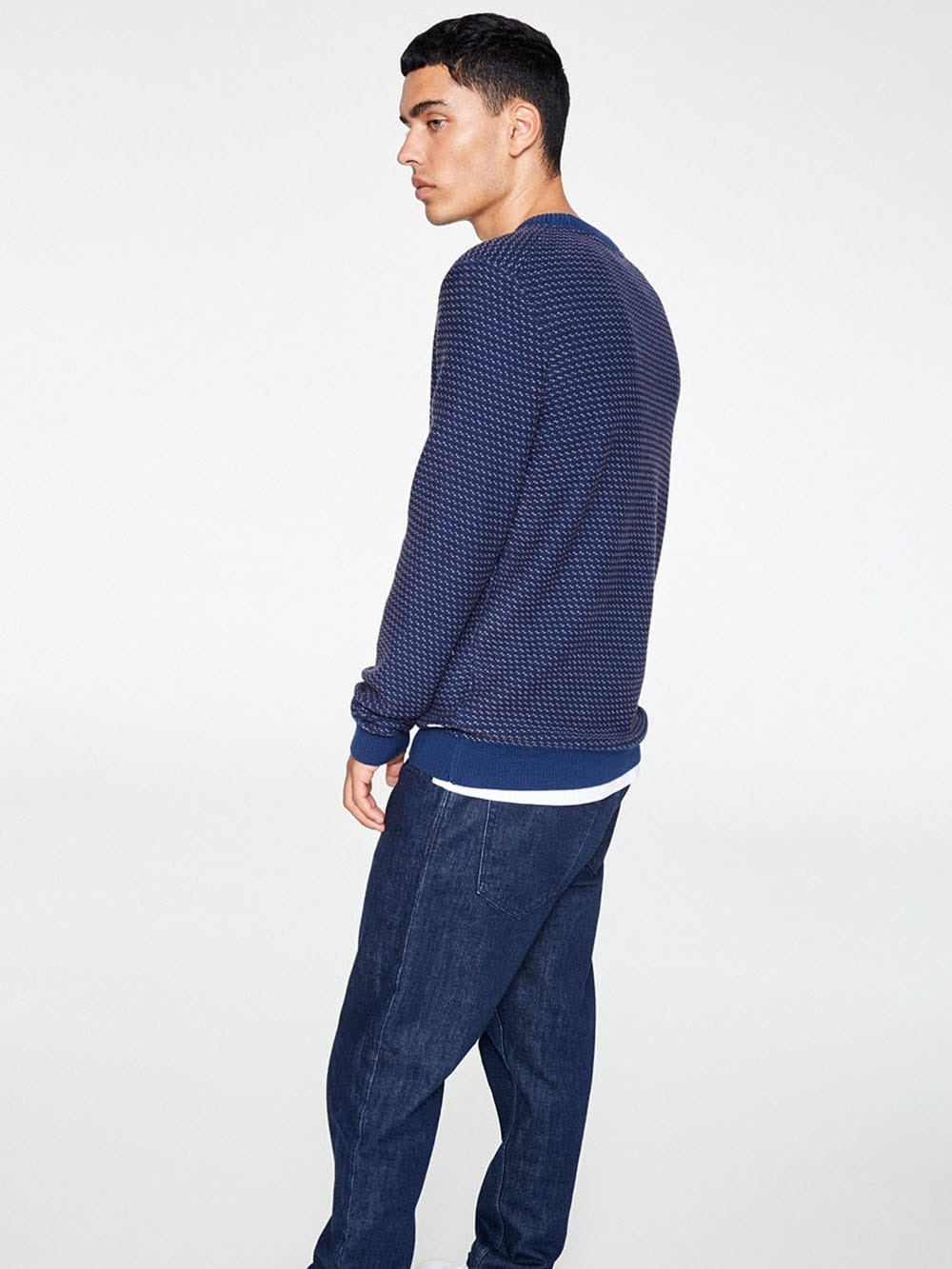 Blue jersey with cuffs made of organic cotton-Taavi