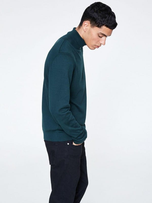 Green turtleneck jersey organic cotton-Glen