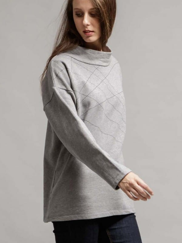 Organic cotton gray sweatshirt-Hossela