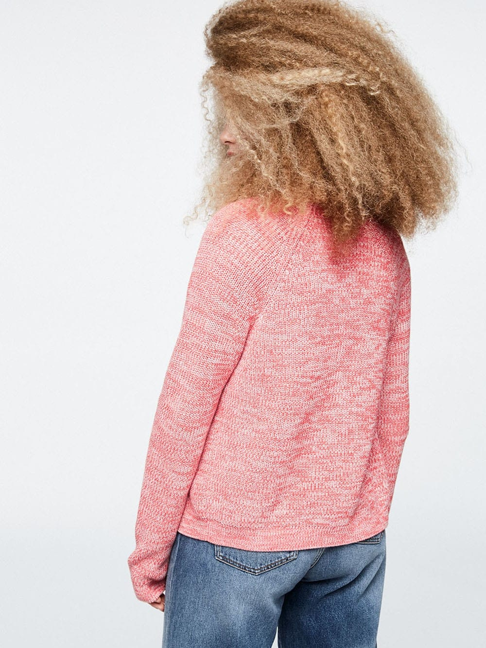Organic cotton pink knit jacket-Maarion Melange