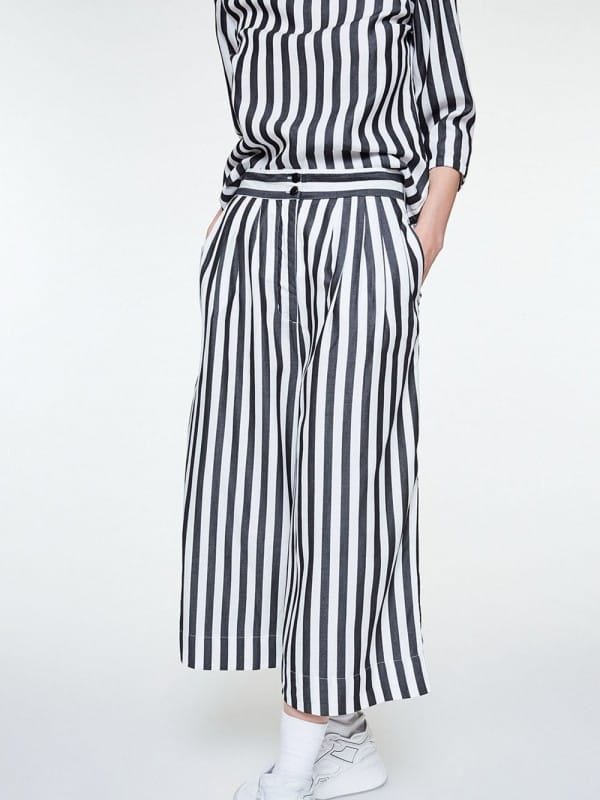 Wide leg striped tencel pants-Jonna