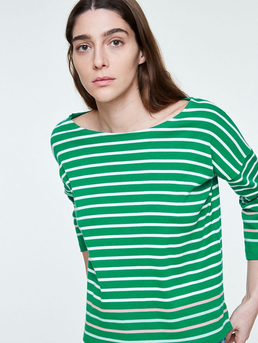 White and pink striped sweater made of organic cotton-Filinaa