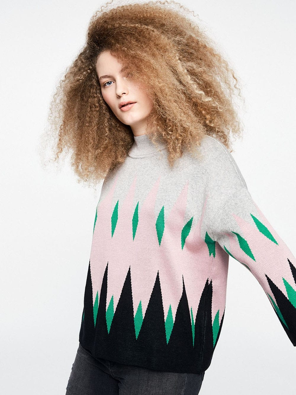 Rhombus print sweater made of organic cotton-Aagnes Summer Rhombic