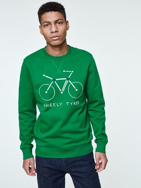 Green organic cotton sweatshirt-Yaaron Atomic