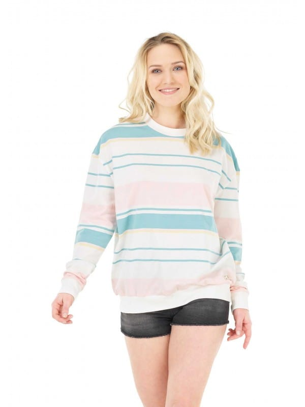 Sweatshirt with organic cotton color stripes-Heavenly