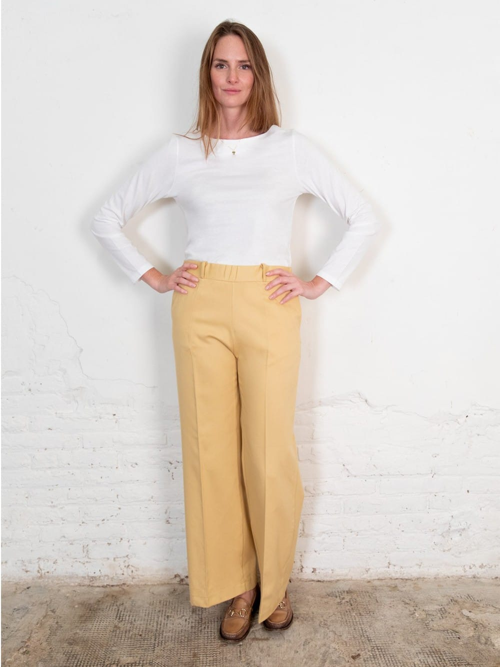 Yellow organic cotton denim pants-Lamad