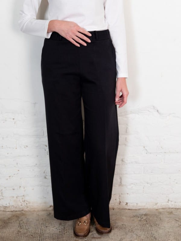 Black organic cotton denim pants-Lamad
