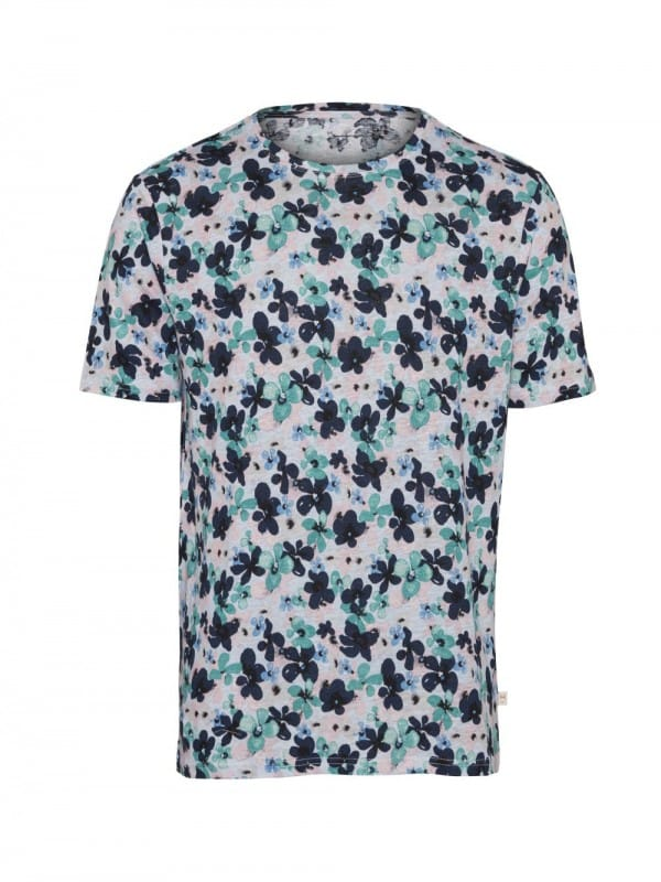 Flowered organic linen t-shirt