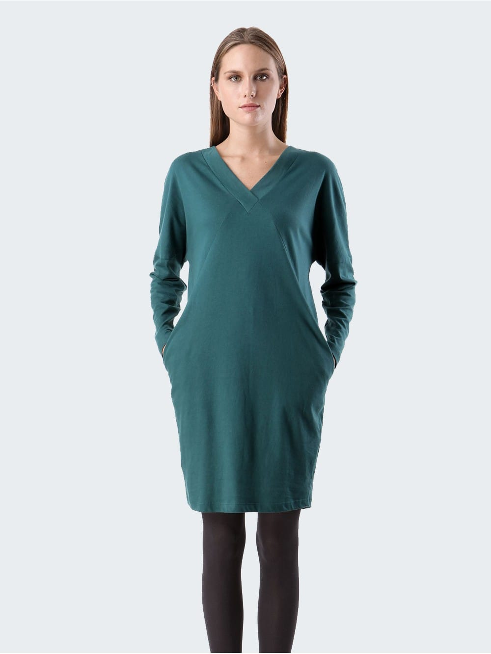 Organic cotton v-neck oversize dress-Edsbyn