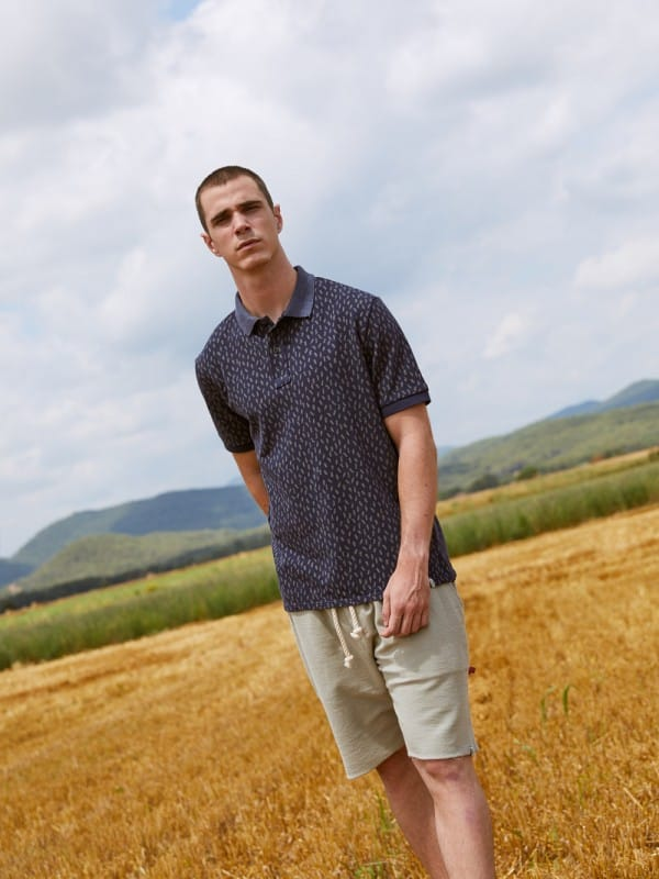 Organic cotton printed polo-Graphic