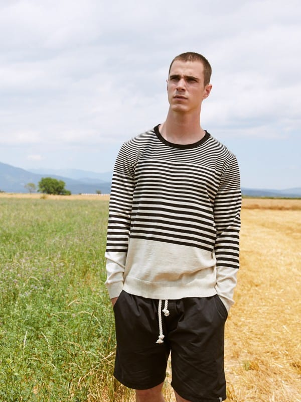 Organic cotton striped knit sweater