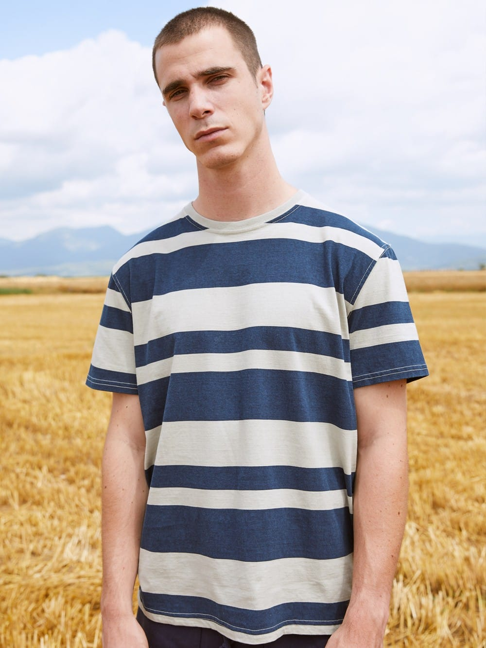 Recycled fabrics striped t-shirt sweater