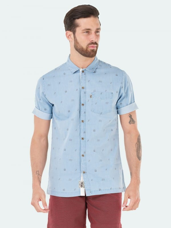 Denim short sleeve organic cotton shirt-Denim