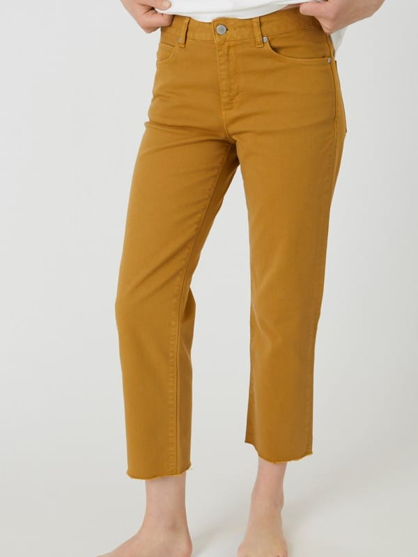 Cropped organic cotton pants-Fjella