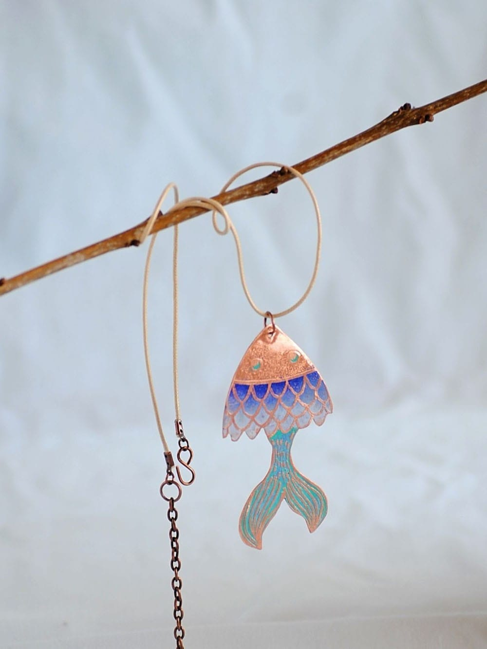 Copper pendant-Fly fish 2