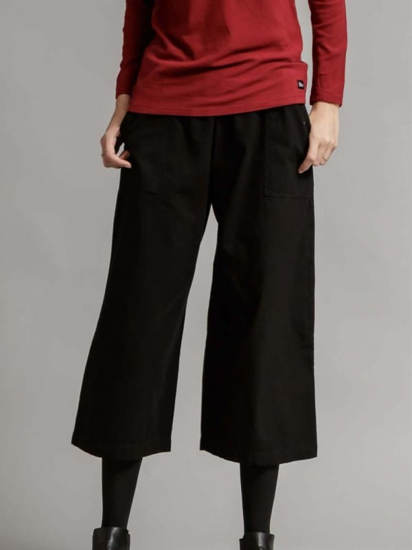 Flared organic cotton pants-Yarrow