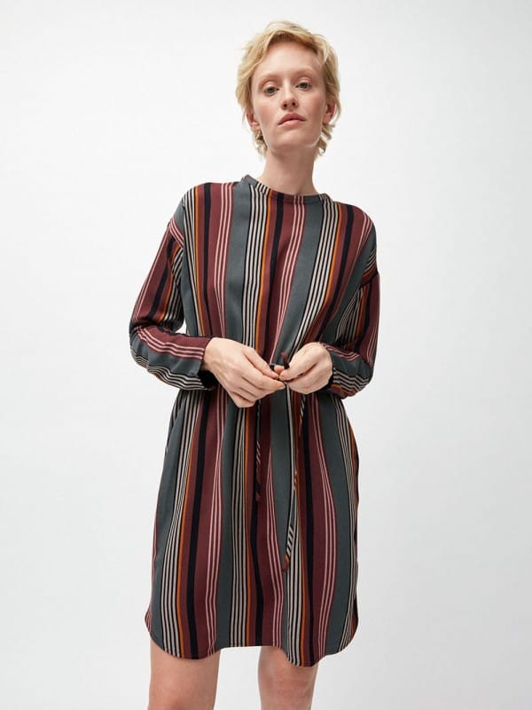 Vestido estampado de viscosa ECOVERO-Edurnaa Clustered Stripes