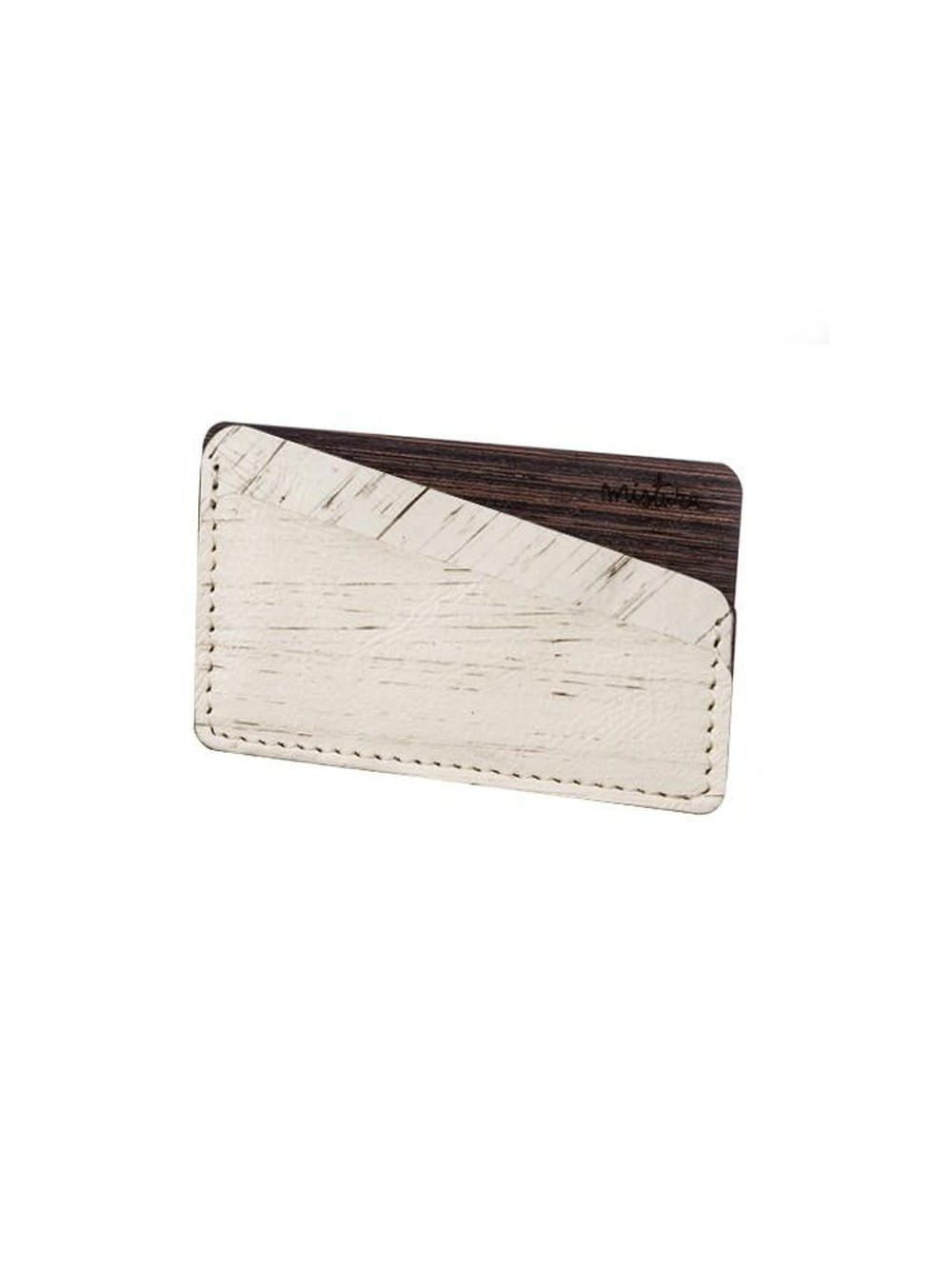 Handmade wallet made of leather and wood