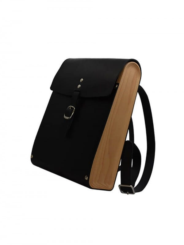 Wood and leather backpack