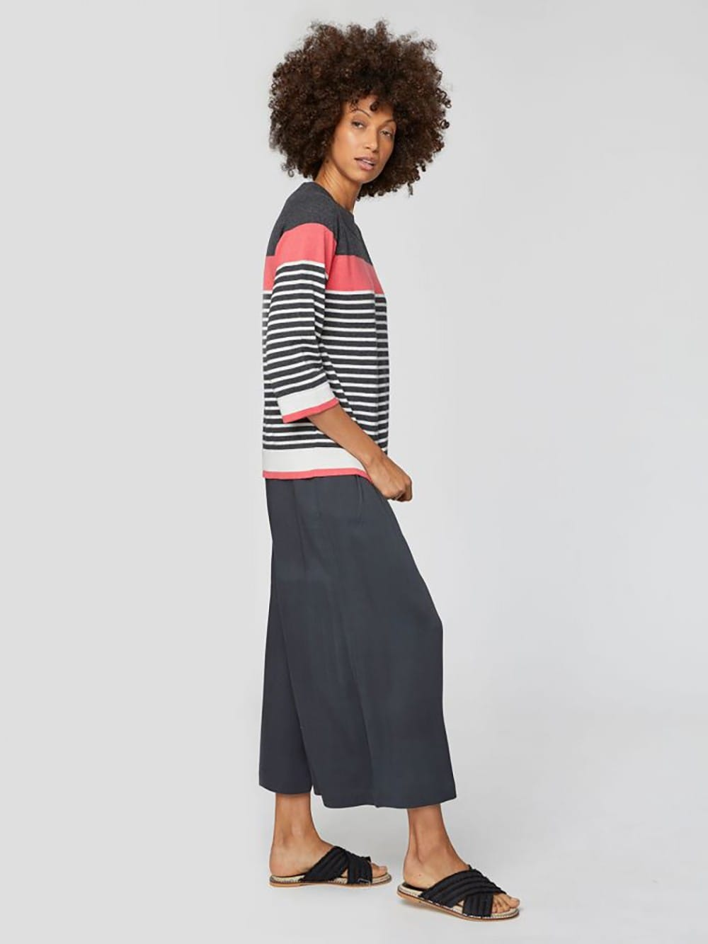 Striped cotton sweater and organic wool nica-Sail