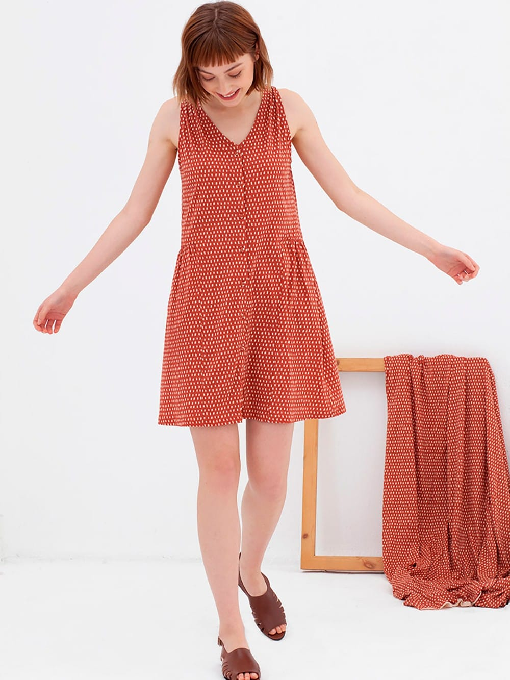 Dress with printed buttons-Andrea