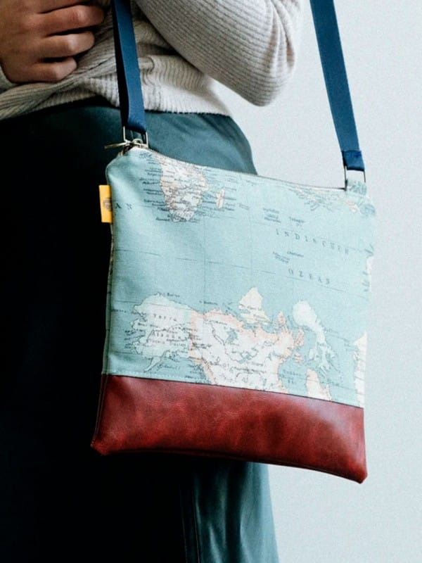 Upcycled shoulder bag-Maps
