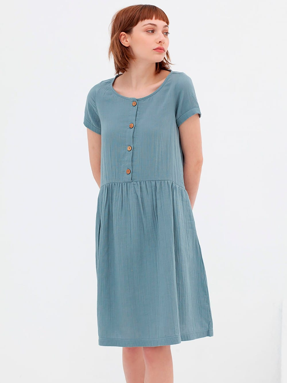 Short sleeved muslin dress-Almudena