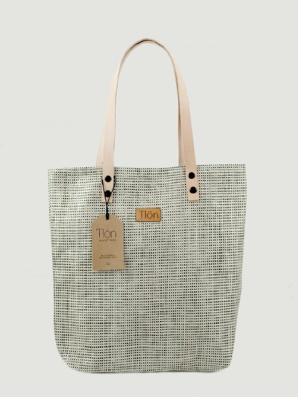 Organic Raffia and Cotton Organic Tote Bag-Orbis Silver