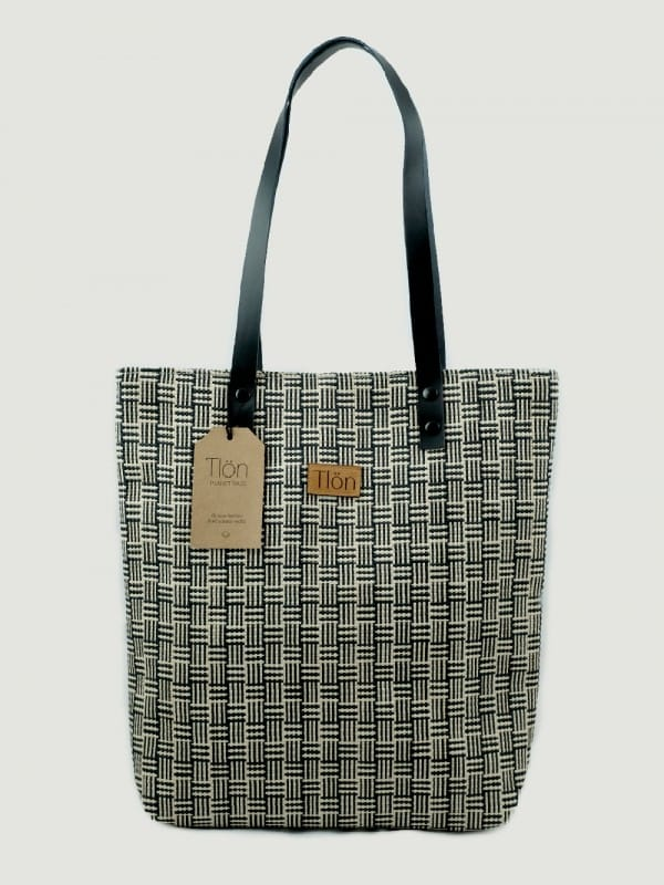 Organic raffia and cotton tote bag-Orbis Trama