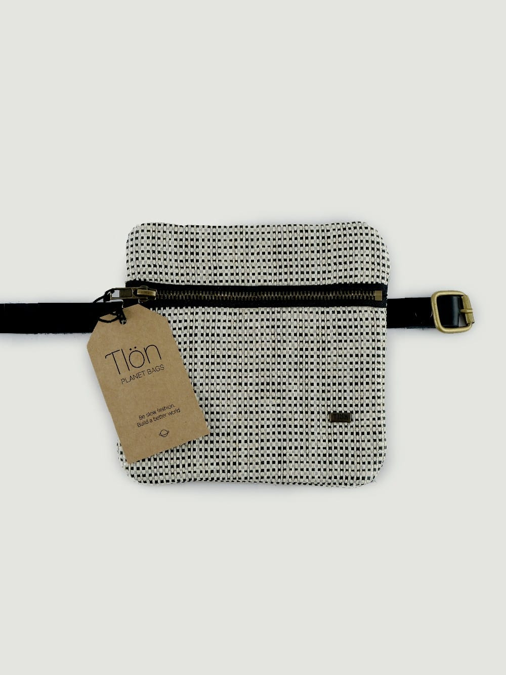Bag made of raffia and organic cotton-Izar Silver