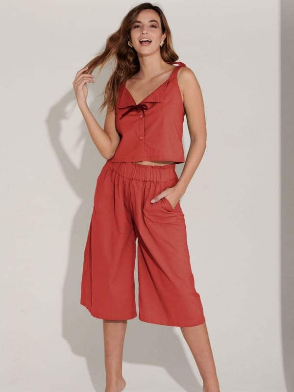 Organic Cotton Wide Trousers-Haydee