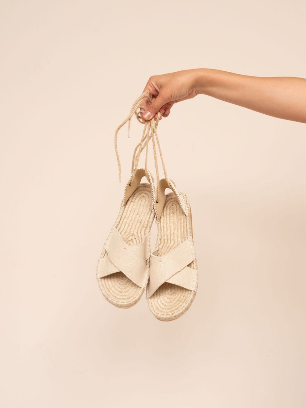 Recycled cotton and jute sandals-Croisas