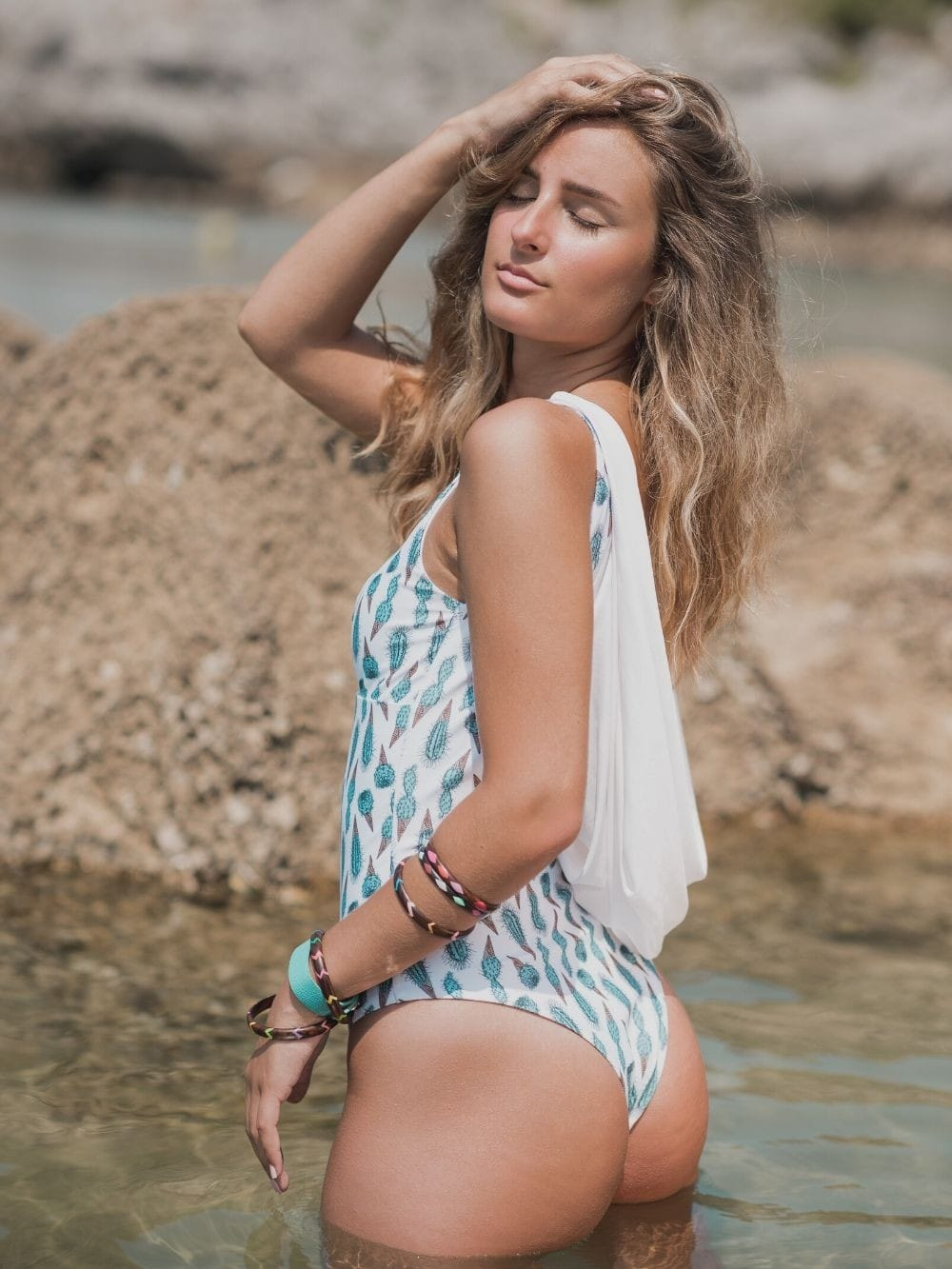 Sustainable swimsuit from recycled materials-Islares Cactus