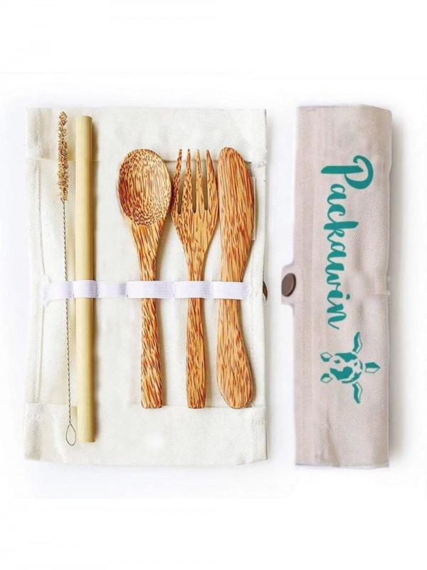 Coconut cutlery set and bamboo straw