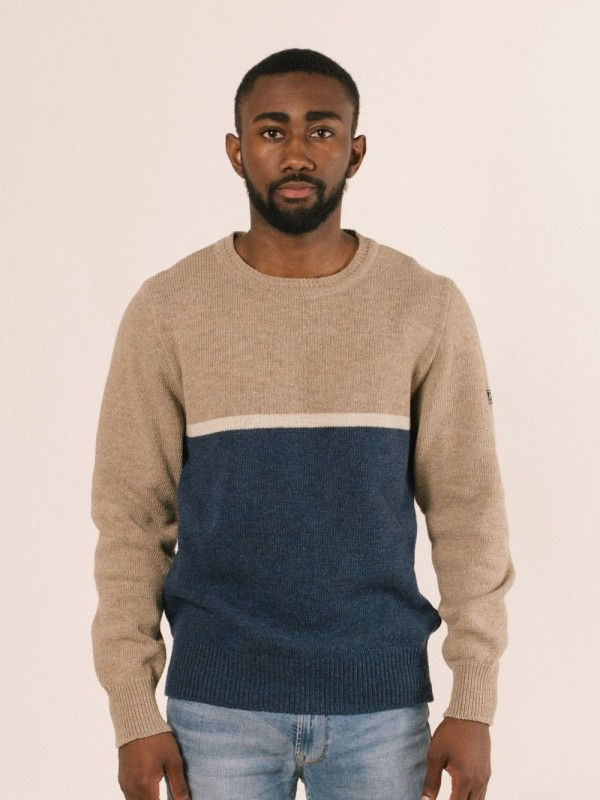 Striped pullover made from recycled materials-Hokusai (Half body)