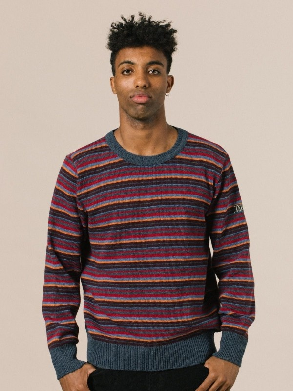 Striped sweater made from recycled materials