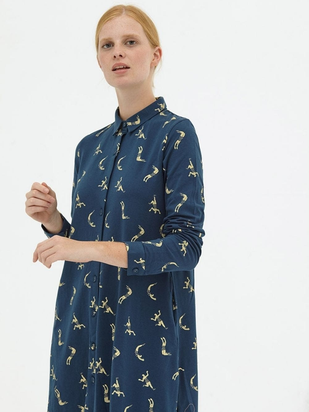 Organic cotton shirt dress-Delphine