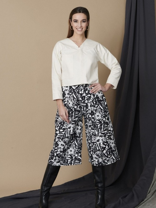 Ecological cotton printed wide trousers