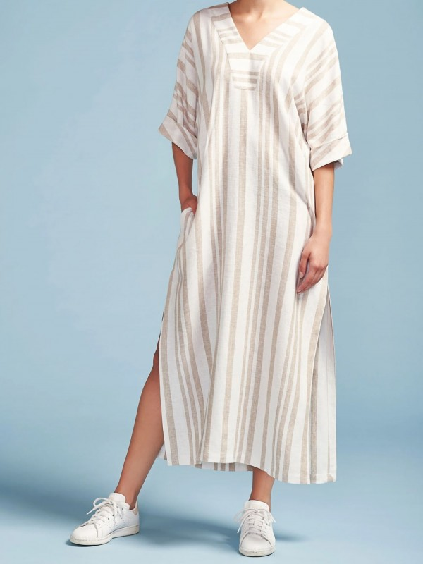Striped kaftan made of organic and ecological materials