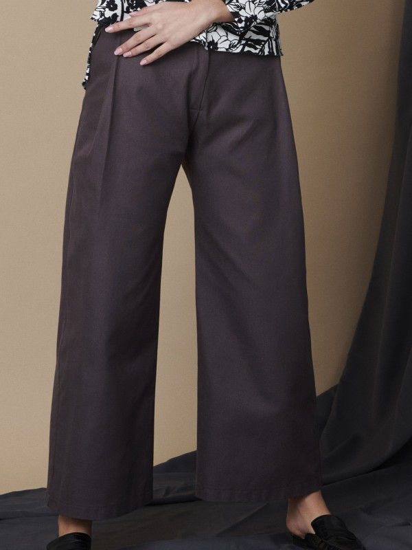 Wide-leg organic cotton velvet pants