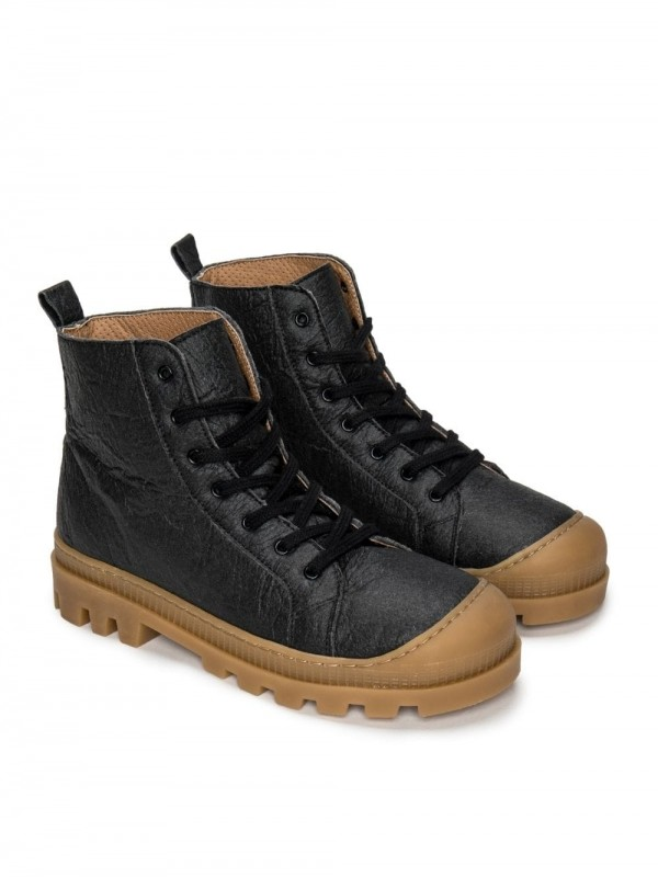 Vegan high-top boot shoe-Noah Piñatex