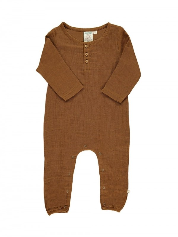 Organic cotton jumpsuit-Basic Marró
